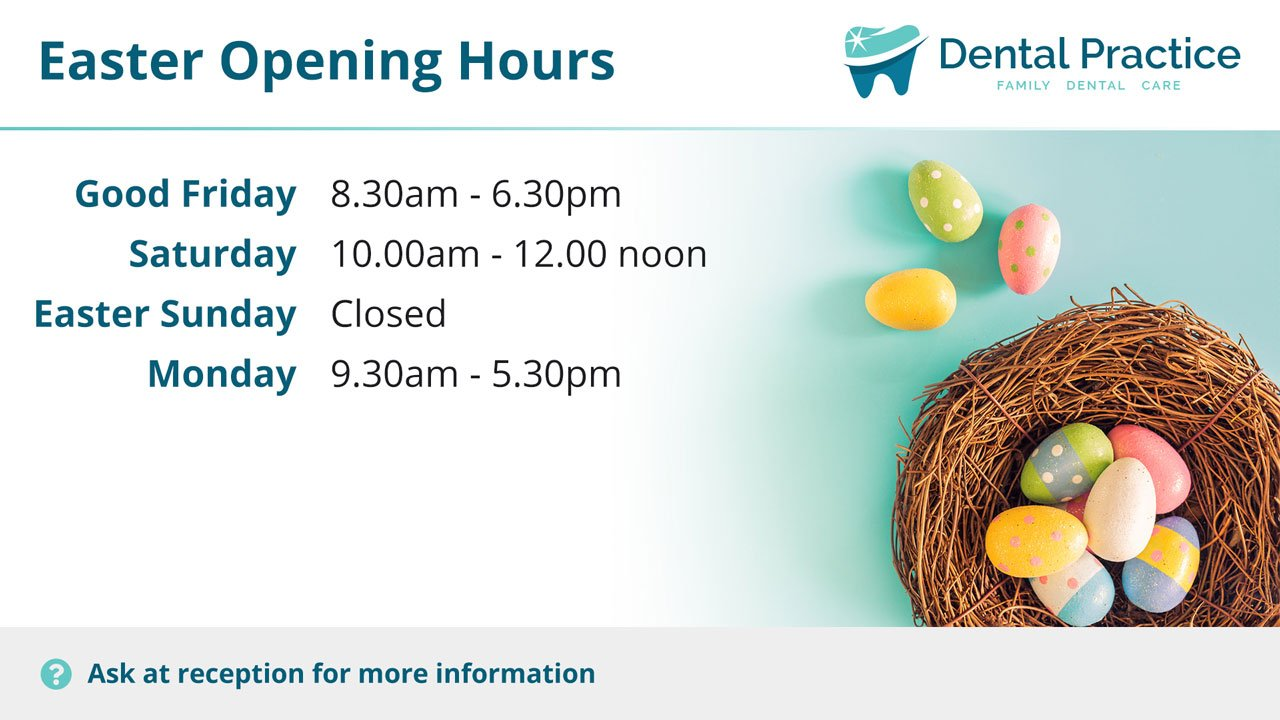 Promoting your Easter opening hours, flossing and more!